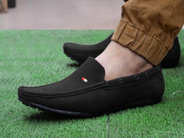feetway black without lace slip on loafers for men