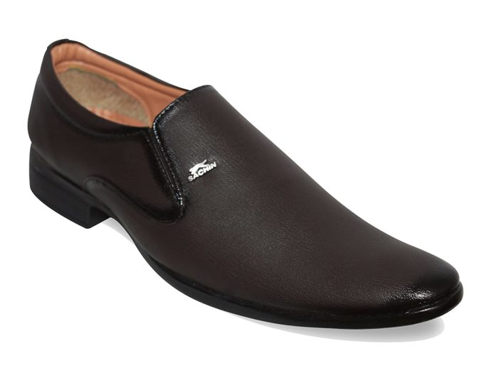 Without lace Brown formal shoes Slip-On