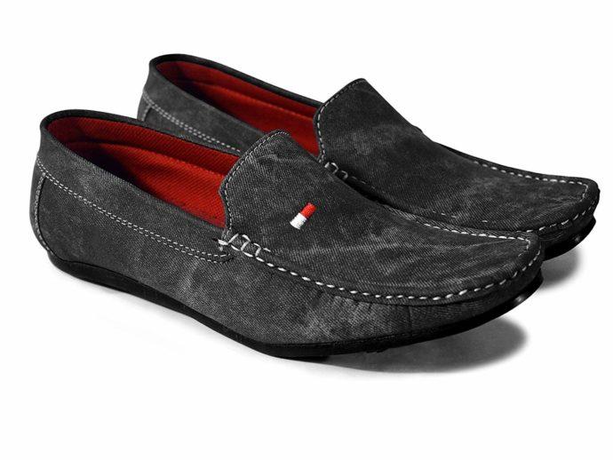 Denim Black Loafers For Men