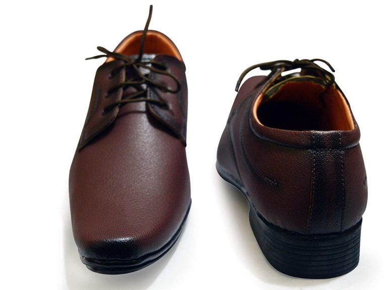 leather lace up brown formal shoes