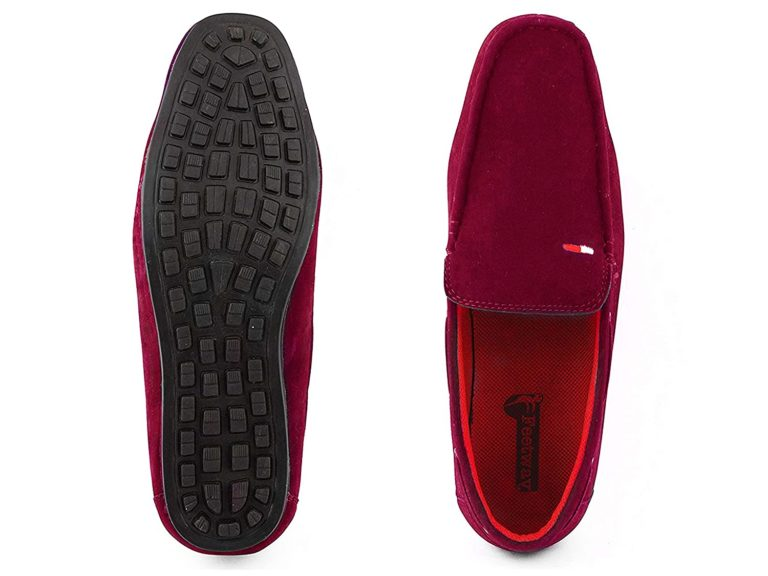 Red Loafers For Men suede leather