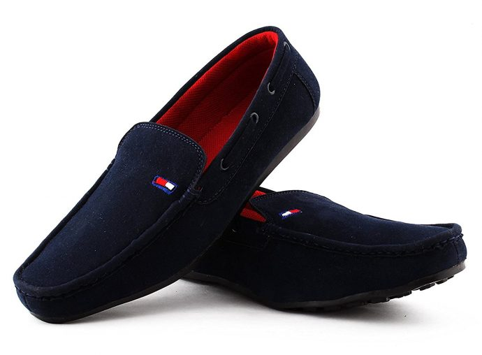 suede leather blue loafers for men