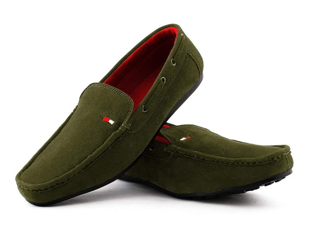 suede leather green loafers for men
