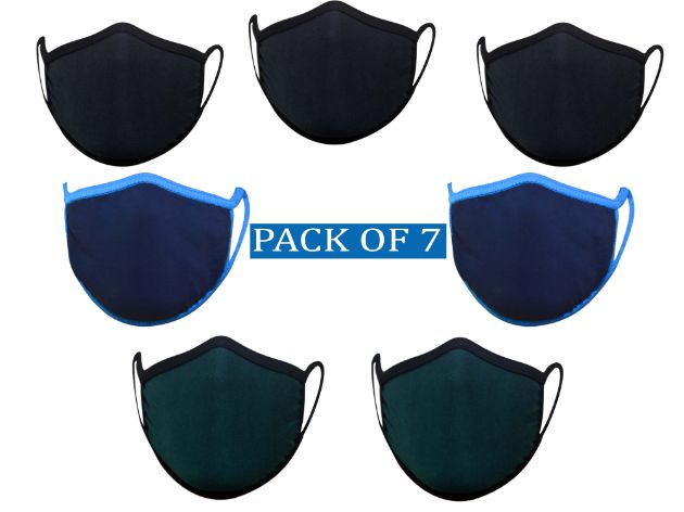 Pack of 7 fancy face pollution mask