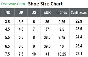 shoes size chart feetway