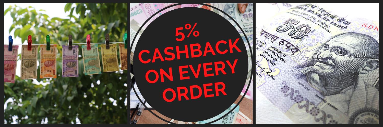 5% Cashback On All Order