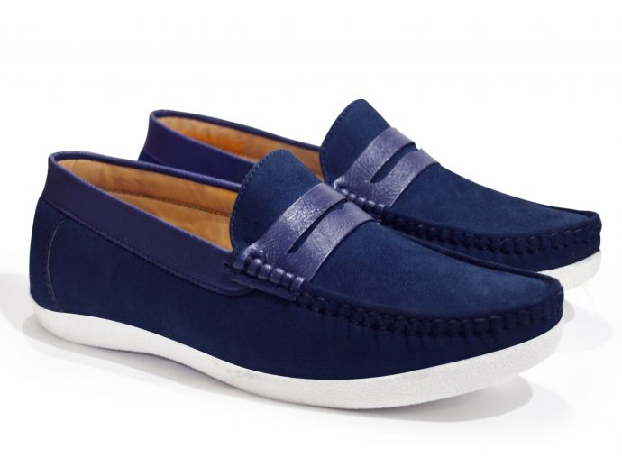 Blue suede loafers mens