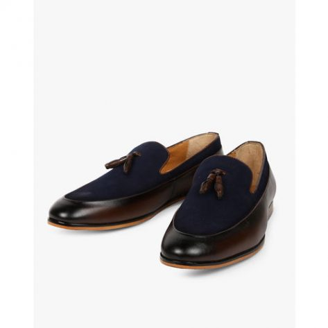 STELVIO Panelled Formal Slip-Ons with Tassel Accent